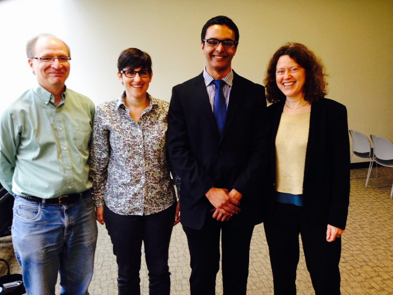 Pictured from Left to Right: RCI Co-Director Tony Broccoli, RCI Co-Director Robin Leichenko, G.H. Cook Scholar Rahul Ghosal (Class of 2015), and RCI Affiliate Cymie Payne.